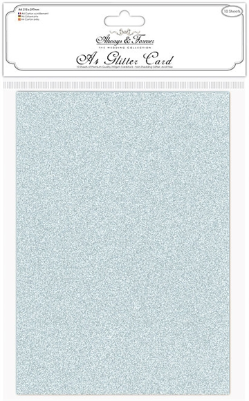 Happymade - Craft Consortium - Glitter Card - Duck Egg Blue (10 ark)